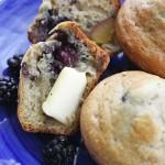 Blackberry and nectarine muffins