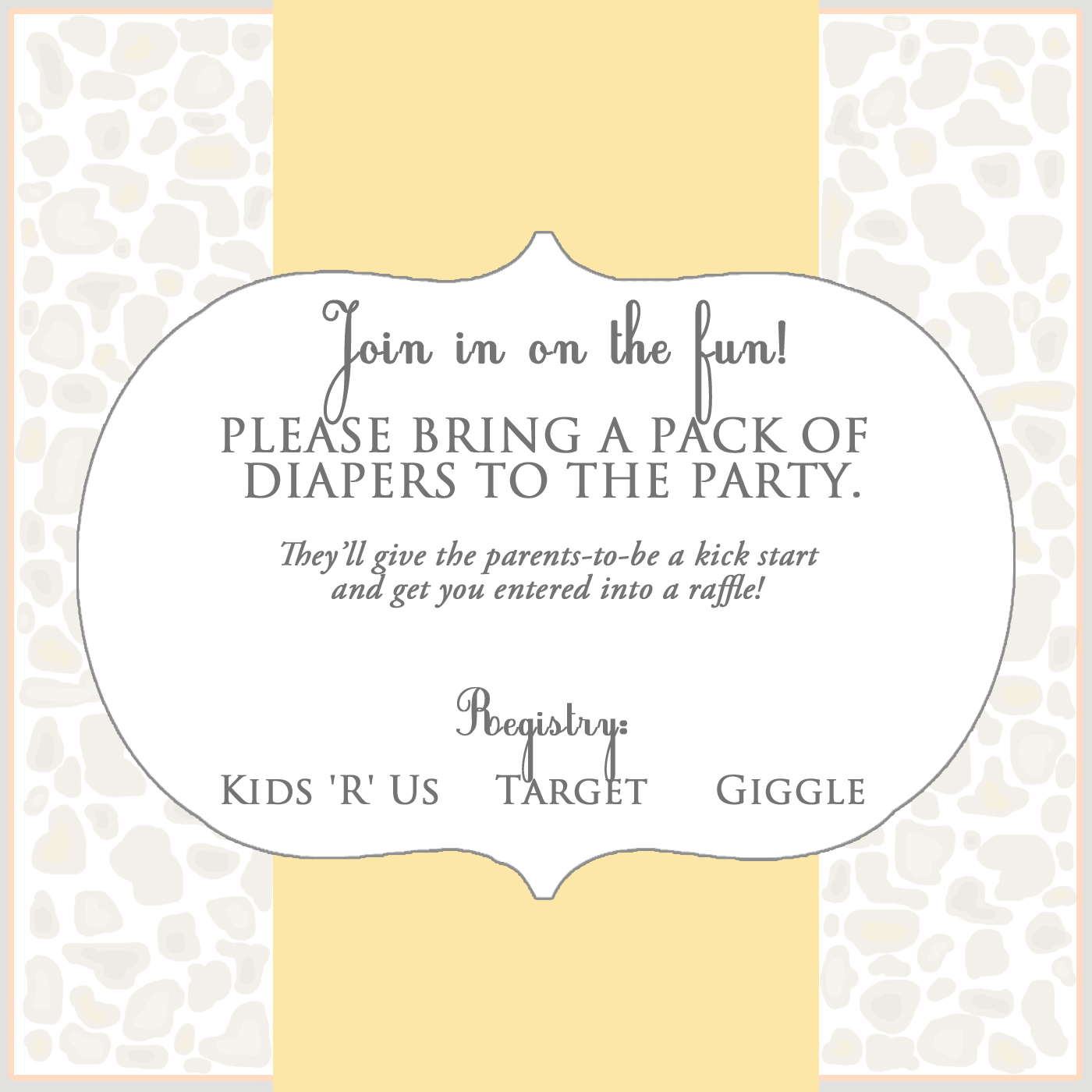 Paper Graphics | Baby Shower Insert - The client need an insert to ...