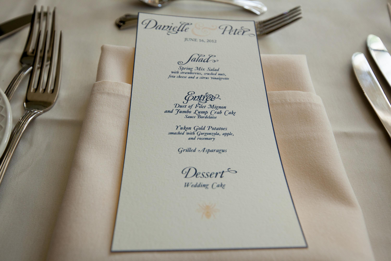 wedding menu - Victoria McGinley Studio