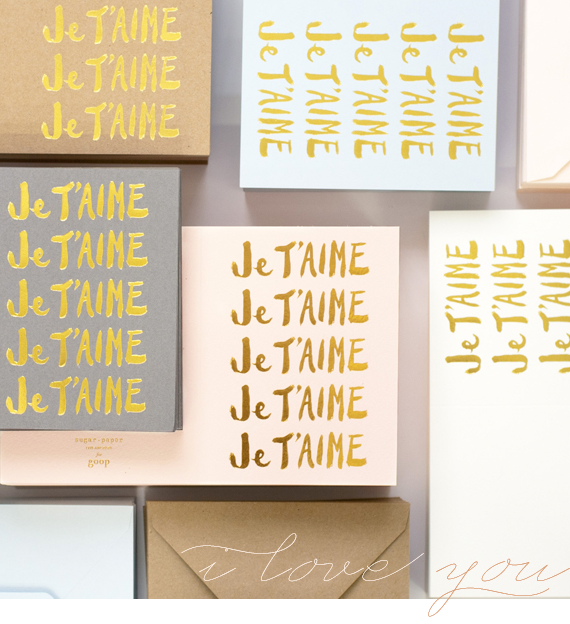je t'aime cards from sugar paper | via vmac+cheese