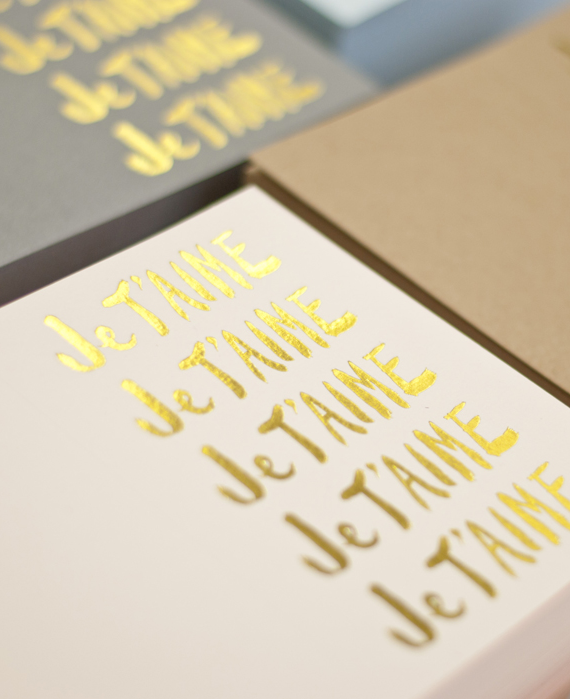 je t'aime note cards from sugar paper | via vmac+cheese