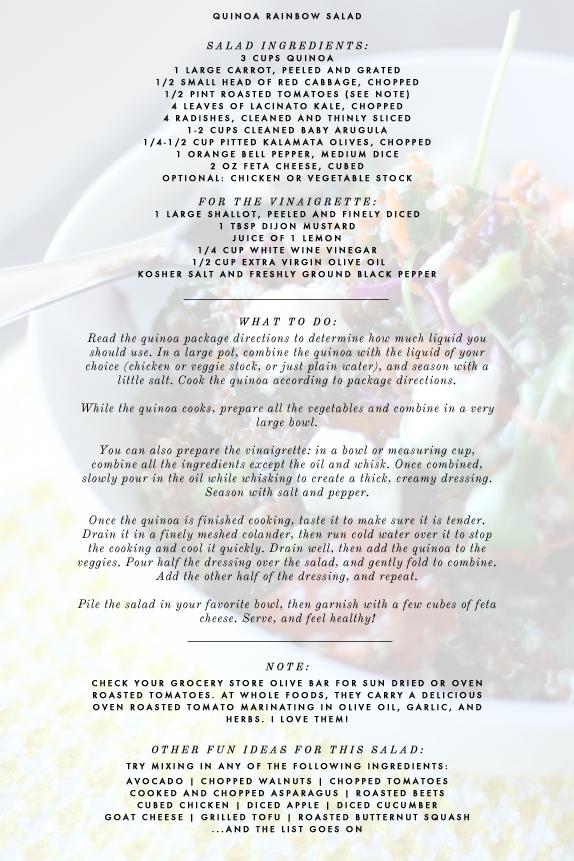 recipe - quinoa rainbow salad   vmac+cheese