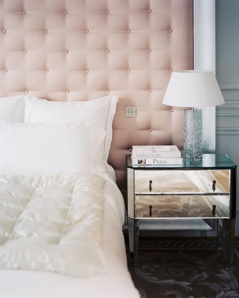 pink tufted bedroom | via lonny  mag