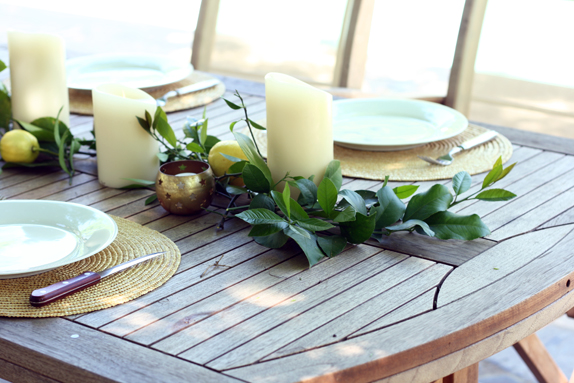 decorating with lemon leaves and candles