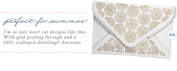 laser cut white and gold clutch
