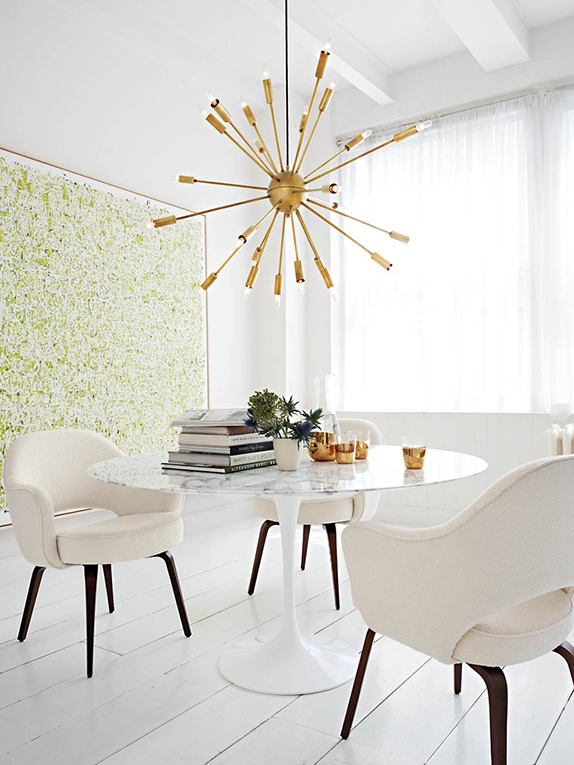 Saarinen Dining Table and Executive Armchairs shown with Satellite Chandelier - from DWR