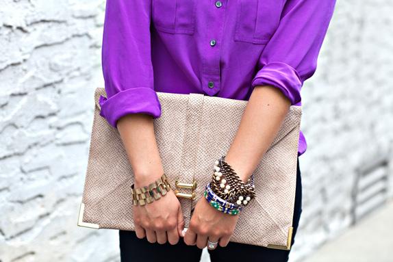 oversized clutch and bracelets