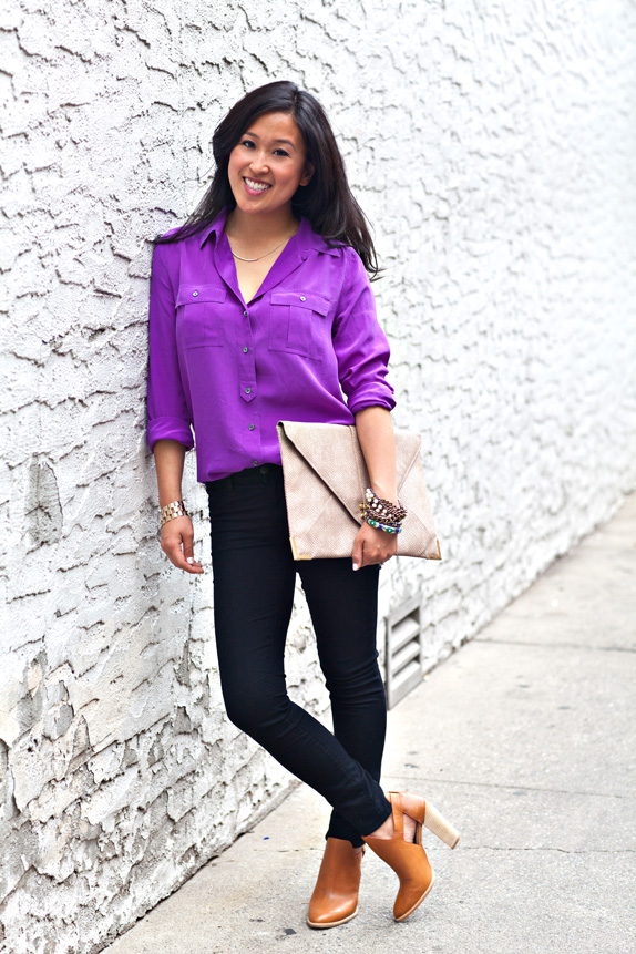 day to night look - purple blouse, black skinnies