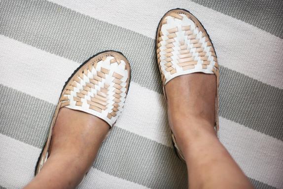 tan and white ix sandals
