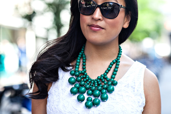 green bib necklace from bauble bar