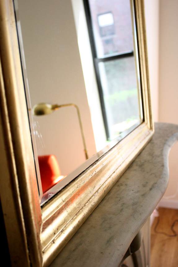 diy gold leaf - tips for gold leafing a mirror frame