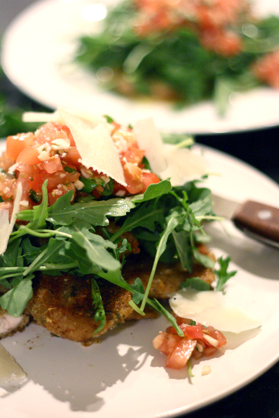 chicken paillaird with pomodoro and arugula
