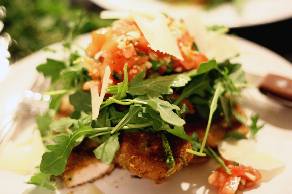 recipe for weeknight chicken paillard with tomato and arugula salad
