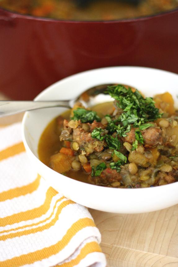 lentil sausage soup stew recipe