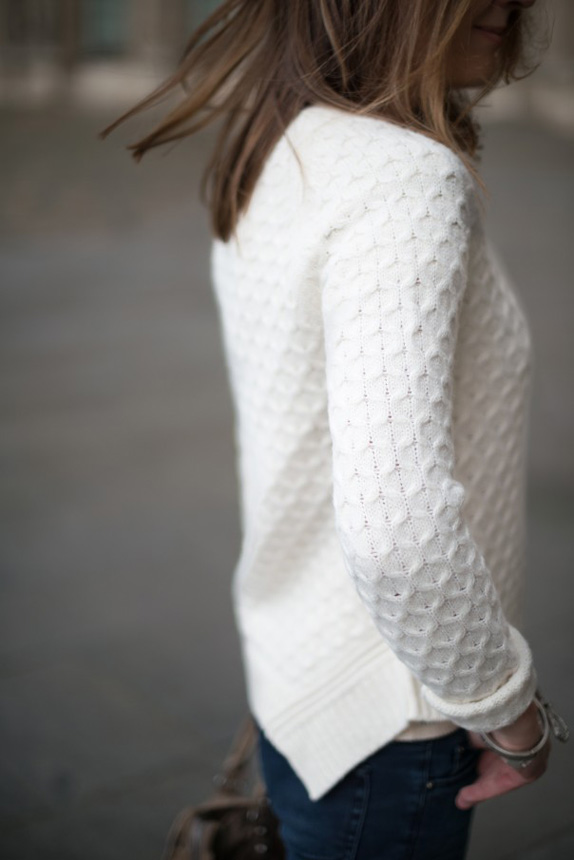 white sweater