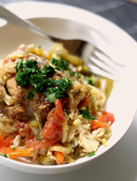 Recipe- Braised chicken with peppers, saffron, and preserved lemon