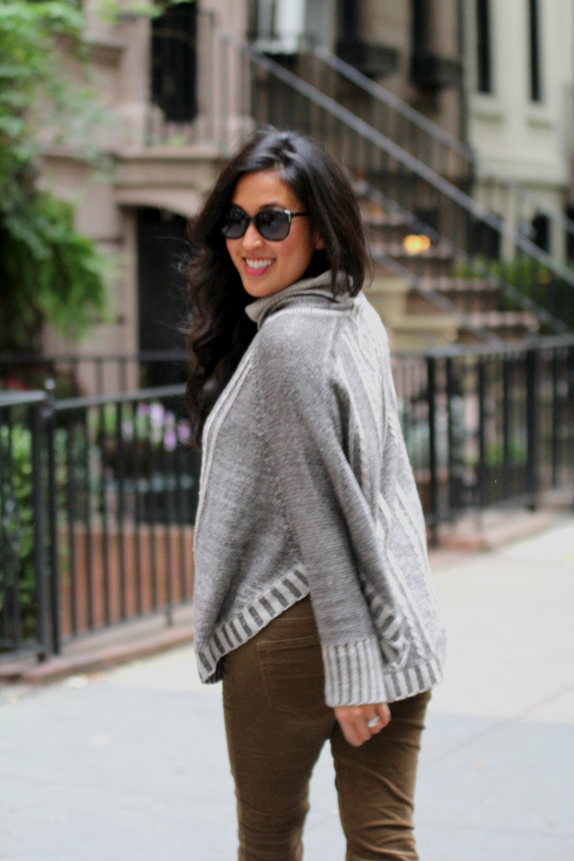 how to wear a sweater poncho