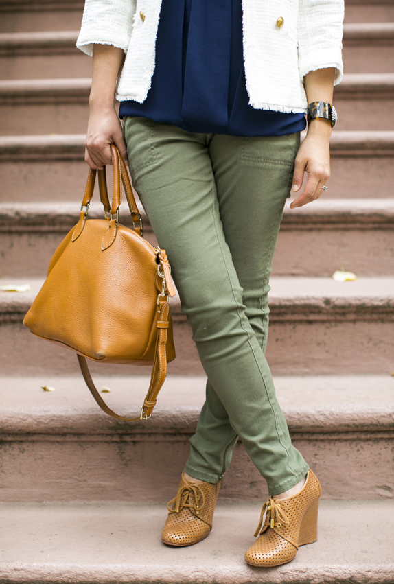 skinny cargo pants, wedge booties, via vmac + cheese