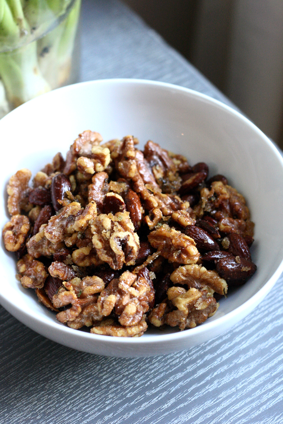quick sweet and spicy candied nuts