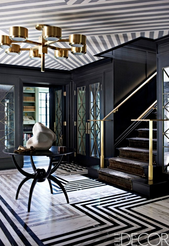black white gold entryway