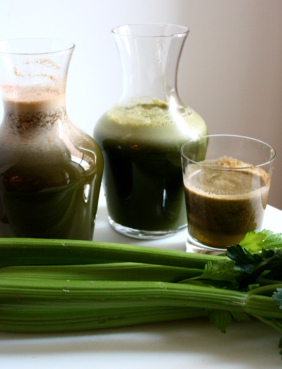 two juice recipes, one sweet, one savory
