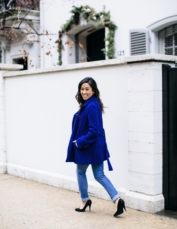 royal blue pea coat and skinnies