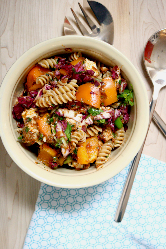 pasta salad with sundried tomato pesto, chicken, and veggies