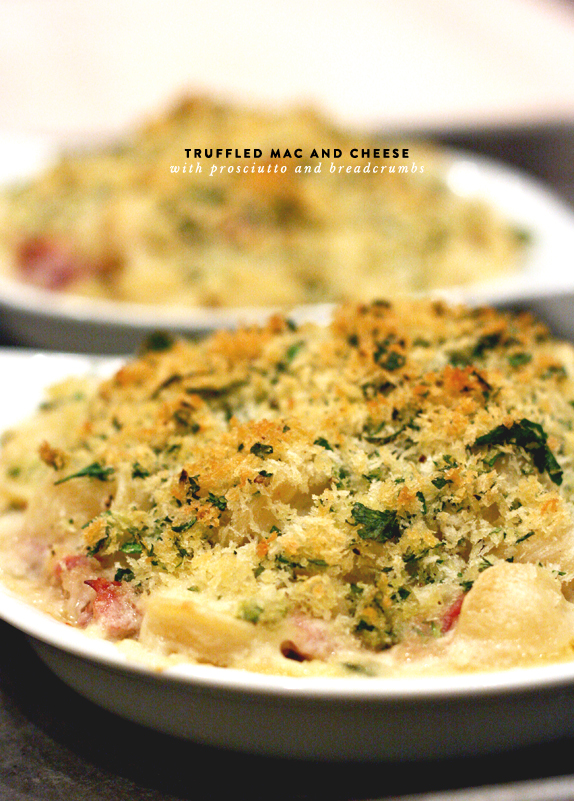 baked mac and cheese with truffle oil and prosciutto