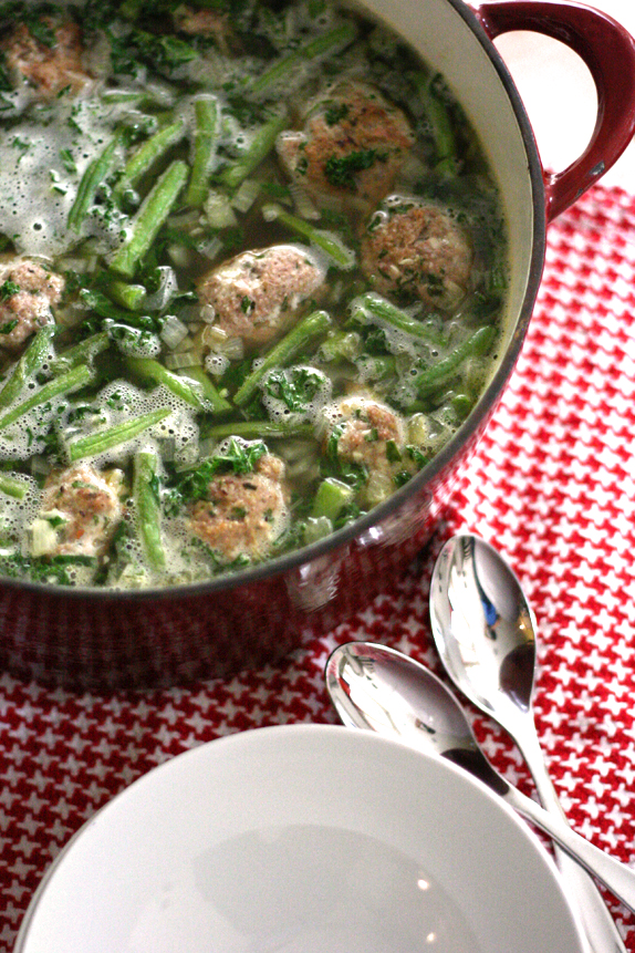 Turkey Meatball Soup with Veggies and Pesto