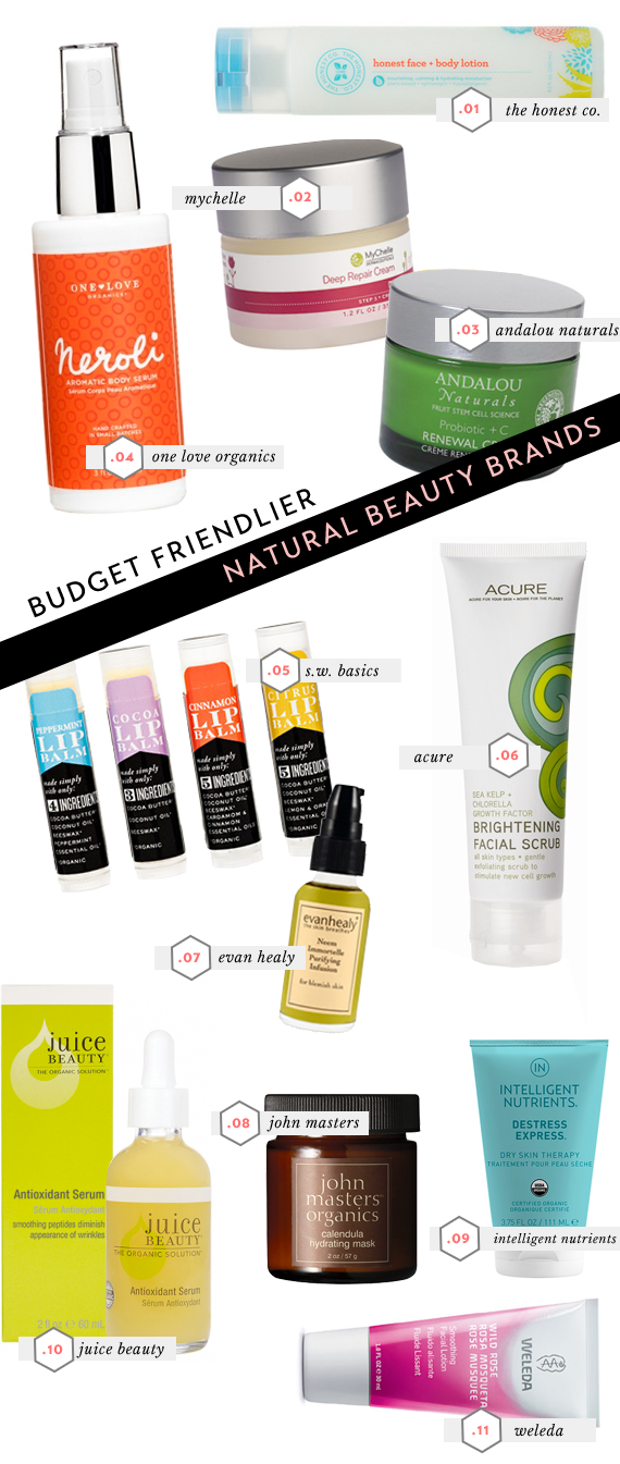 11 budget friendlier natural and non-toxic beauty brands - via vmac+cheese