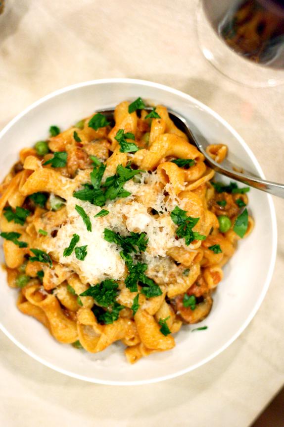 pasta with porcini tomato cream sauce