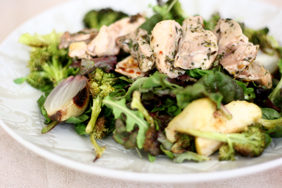 roasted chicken, broccoli, shallot and apply salad