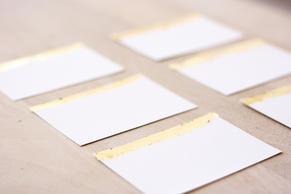 gold leafed place cards