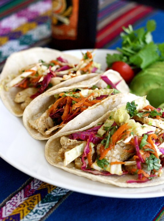 Recipe fish tacos with cilantro lime slaw victoria for Fish tacos with coleslaw