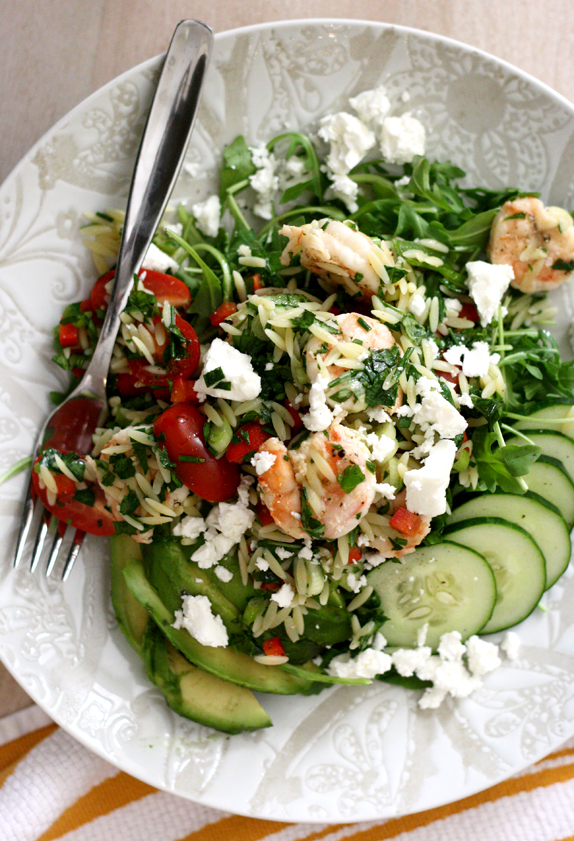 healthy shrimp and orzo salad