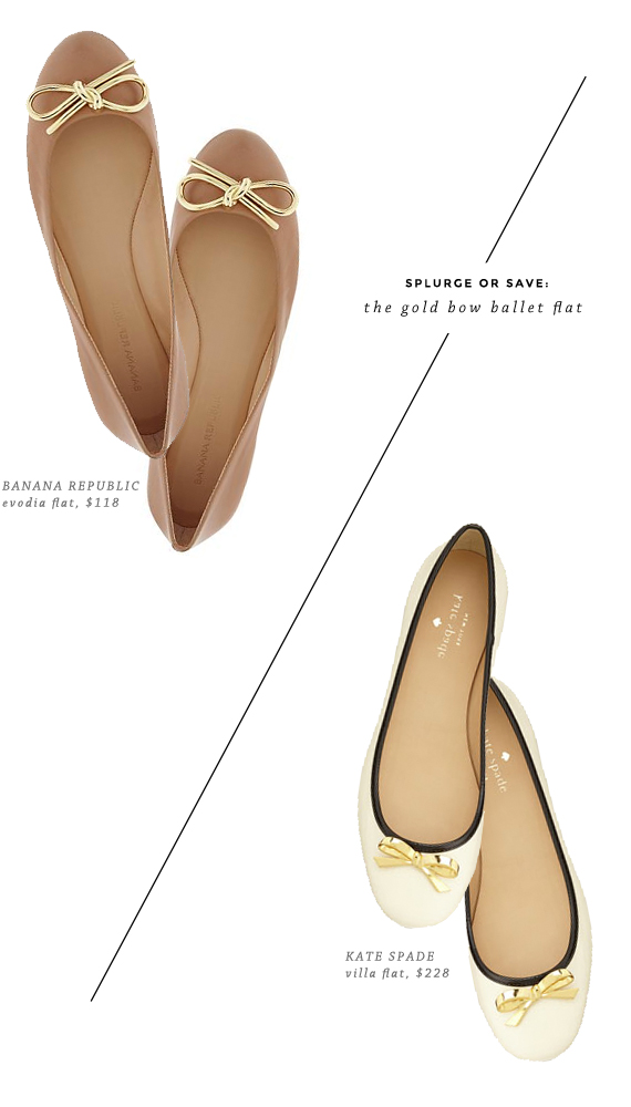 splurge or save - the gold bow flat