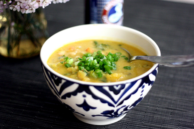 soup recipe - butternut squash with sausage, white beans, and kale