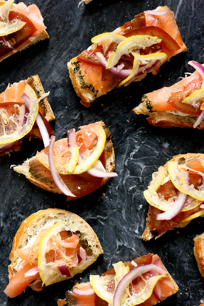 gravlax tartines with shaved lemon and herbed cream cheese