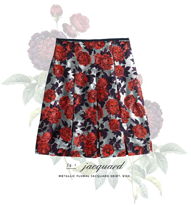 jcrew floral metallic jacquard skirt - on sale!