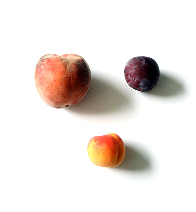 peaches, plums, apricots
