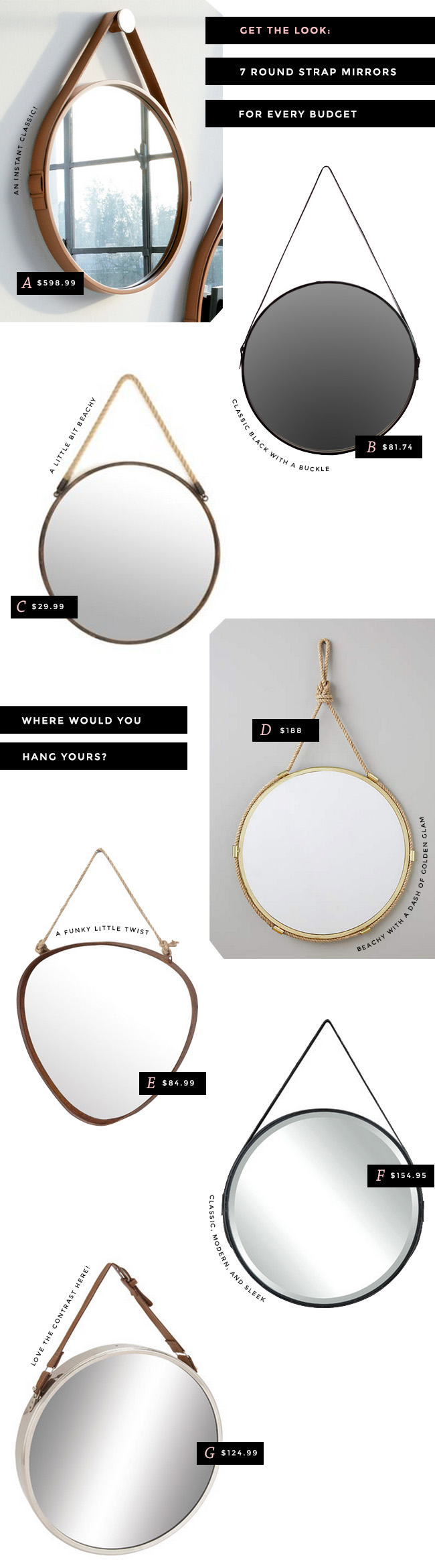 round mirrors with straps