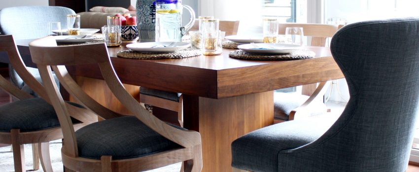 bright dining room, chairs from serena & lily