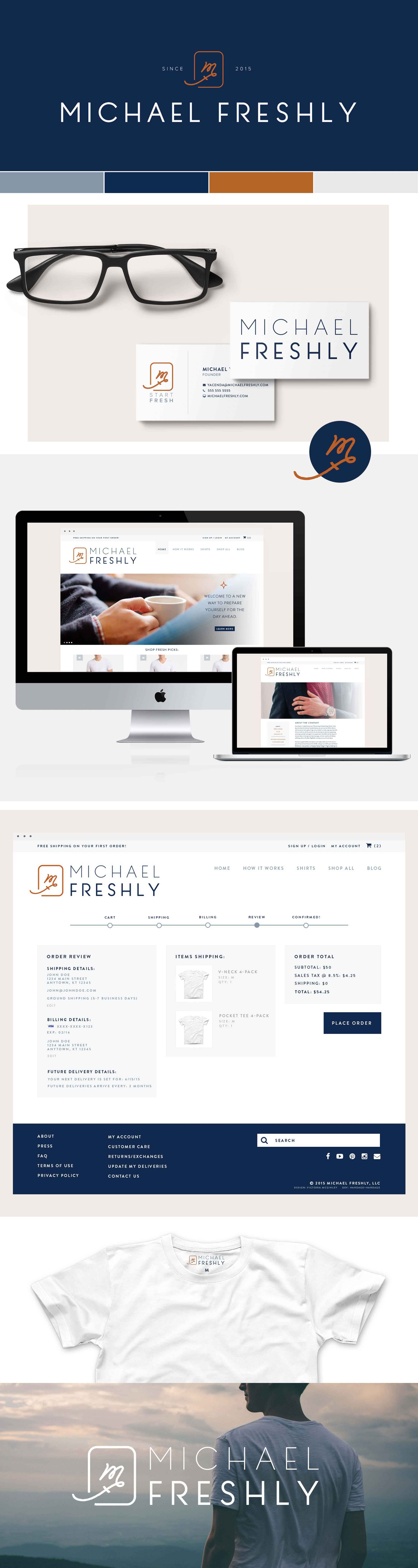 Michael Freshly mens t-shirts | identity and site concept design by Victoria McGinley Studio