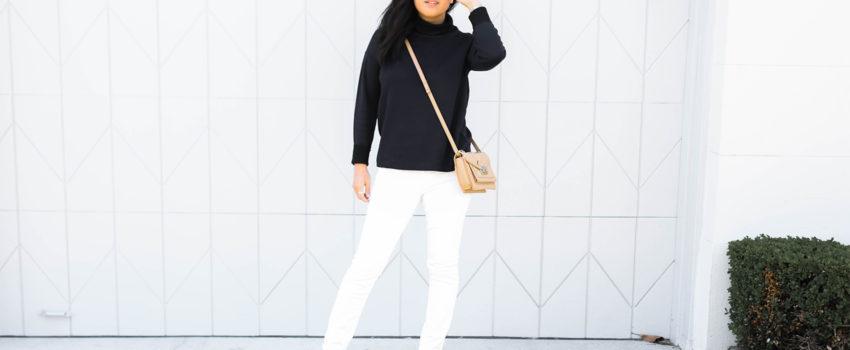 @victoriamstudio | details- Everlane double knit cotton turtleneck, j brand white jeans, steve madden suzy booties, loeffler randall mini rider bag