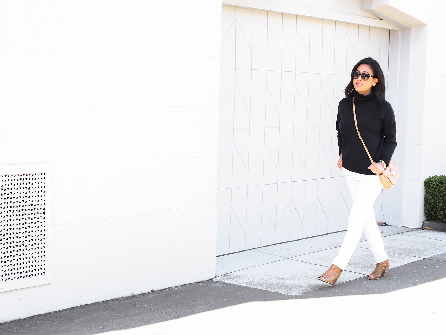 @victoriamstudio   details - j brand white jeans, everlane sweater, loeffler randall bag, steve madden booties