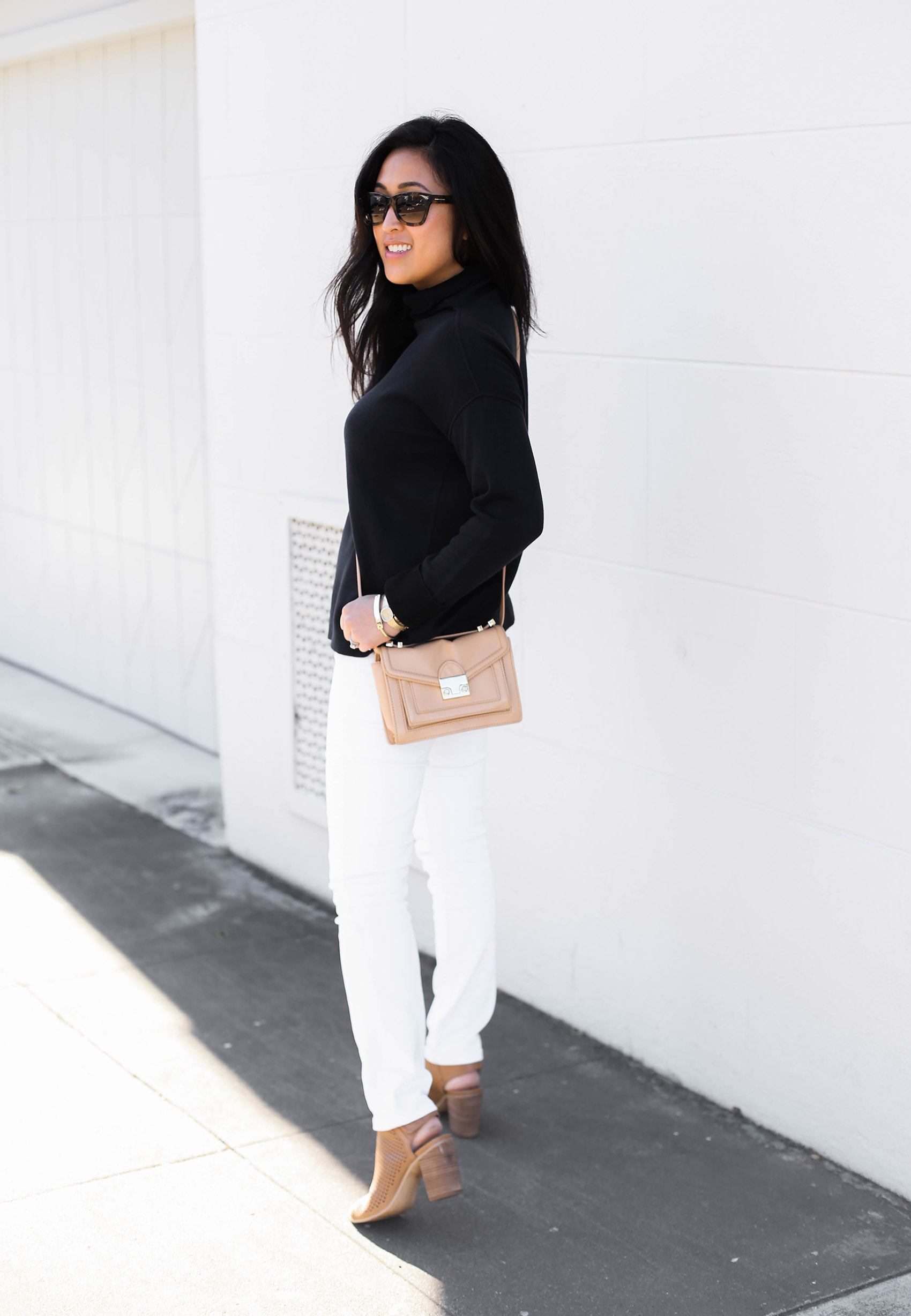 @victoriamstudio | loeffler randall mini rider bag, everlane double knit sweater, steve madden suzy booties