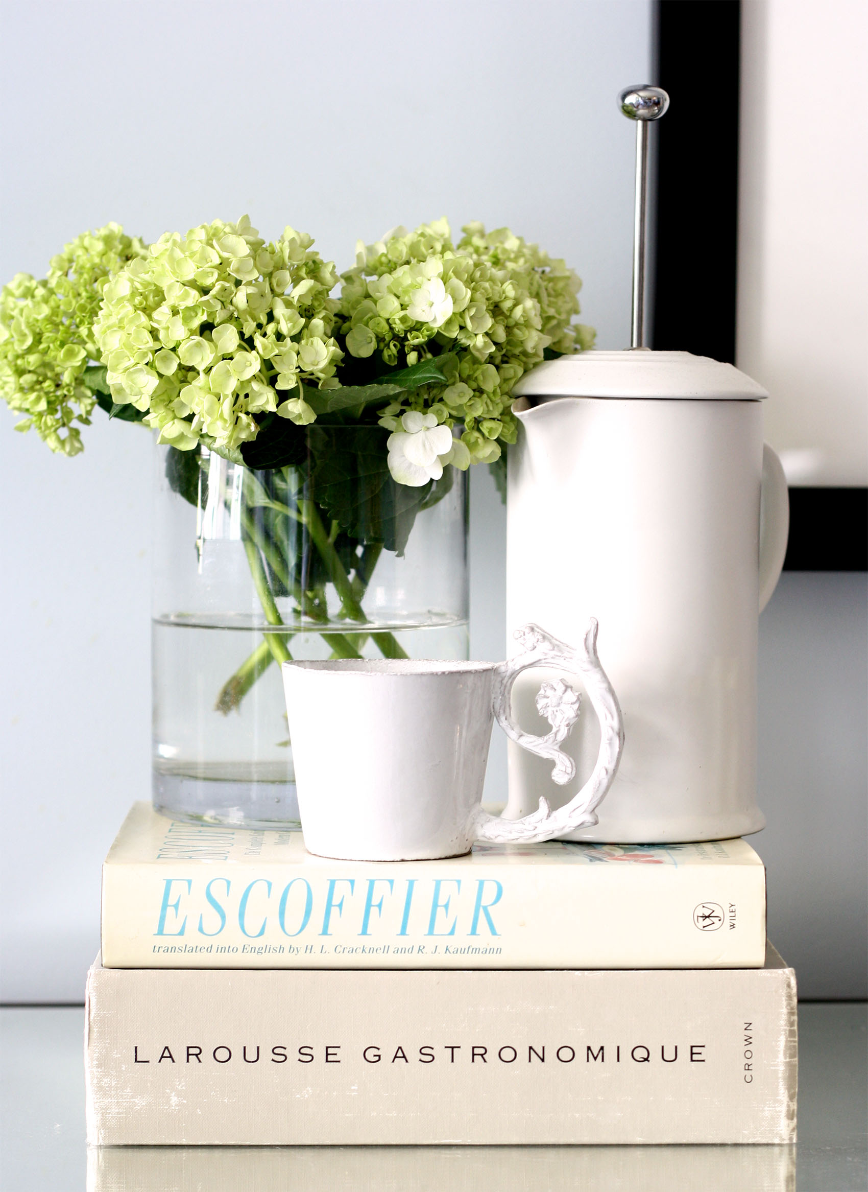emilie tea cup - astier de villatte, and le creuset ceramic french press | via @victoriamstudio