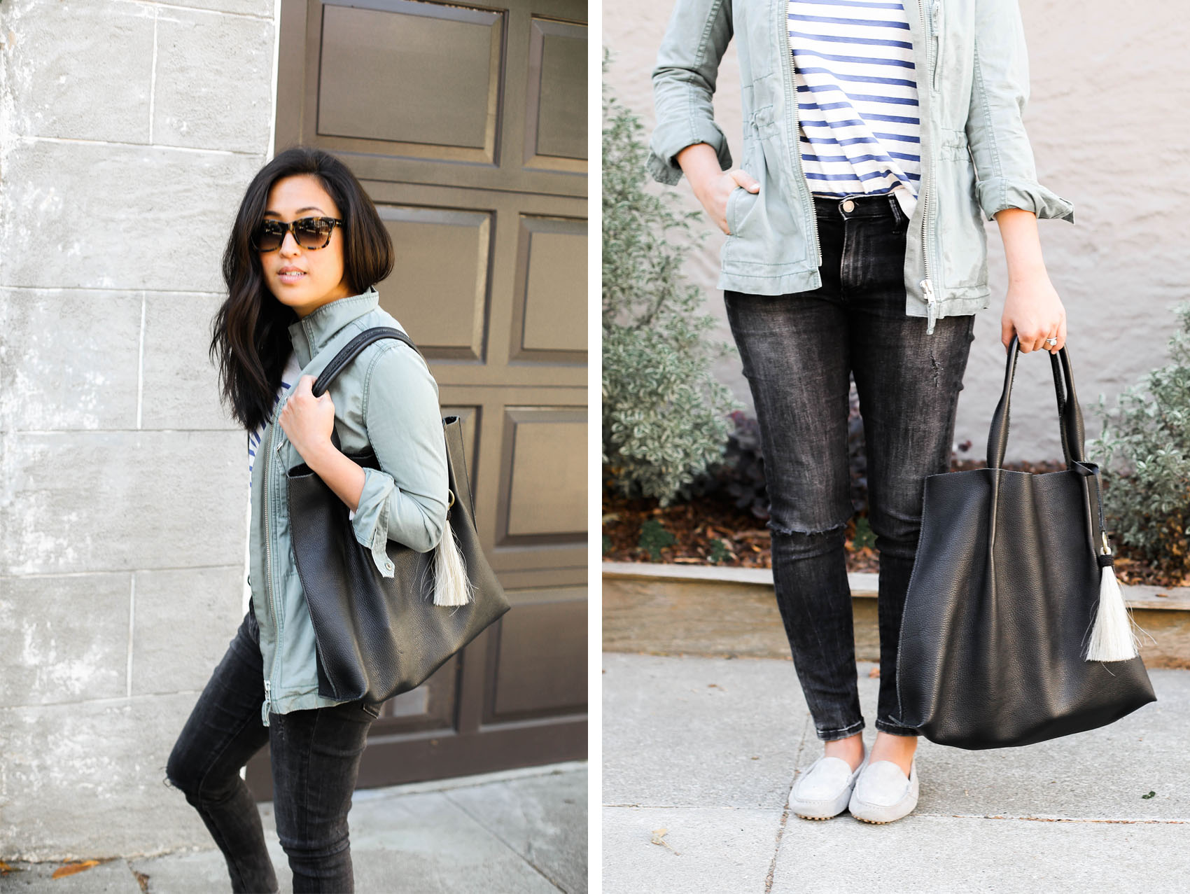 weekend casual style   via @victoriamstudio   striped tee from @morganesezalory, tote from @oliveve